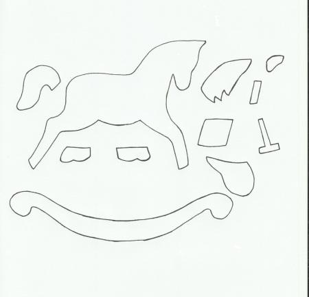 Лошадка из фетра или цветного картона. Выкройка.