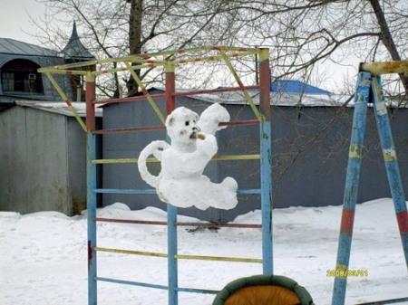 Как из снега сделать обезьянку