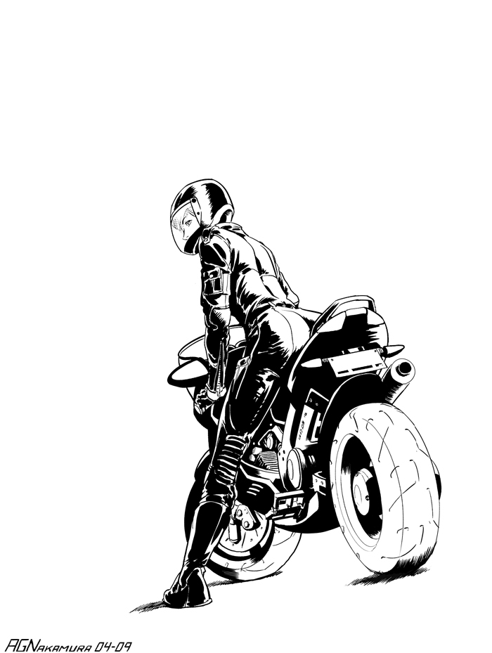 Черно белый силуэт девушки на мотоцикле.