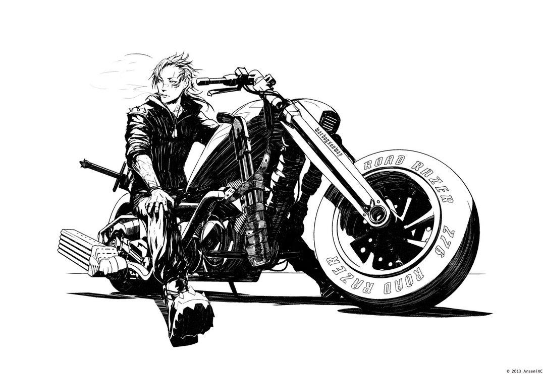 Внезапно.. аниме - байкер.