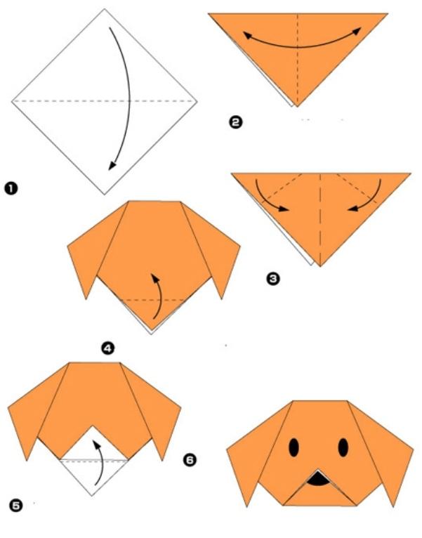 Легкая поделка из бумаги - собака.