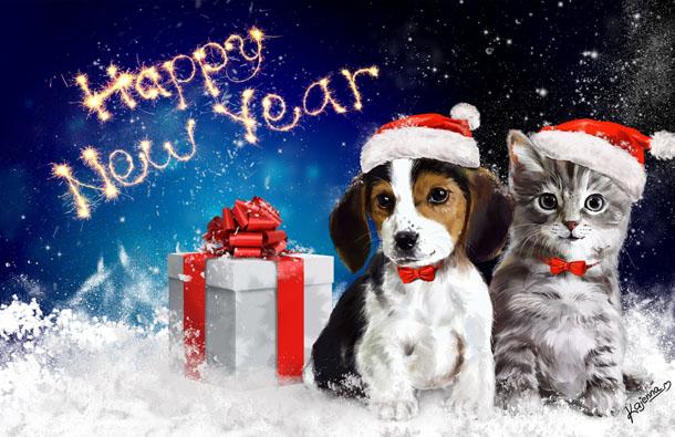 Красивая и милая новогодняя открытка с котенком и щенком с колпачках Санта Клауса и новогодним подарком.